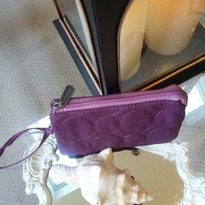 NWT! Thirty ONE Quilted DOTS VARY Wristlet PLUM